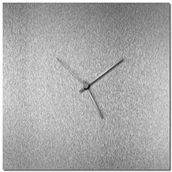 Adam Schwoeppe Silversmith Square Clock Silver Midcentury Modern Style Wall Clock