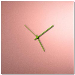 Adam Schwoeppe Coppersmith Square Clock Large Green Midcentury Modern Style Wall Clock
