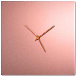 Adam Schwoeppe Coppersmith Square Clock Large Orange Midcentury Modern Style Wall Clock