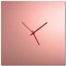 Adam Schwoeppe Coppersmith Square Clock Large Red Midcentury Modern Style Wall Clock