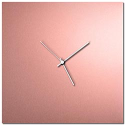 Adam Schwoeppe Coppersmith Square Clock Large White Midcentury Modern Style Wall Clock