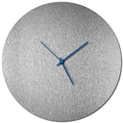 Adam Schwoeppe Silversmith Circle Clock Blue Midcentury Modern Style Wall Clock