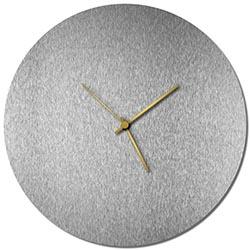 Adam Schwoeppe Silversmith Circle Clock Gold Midcentury Modern Style Wall Clock