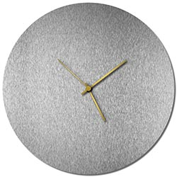 Adam Schwoeppe Silversmith Circle Clock Large Gold Midcentury Modern Style Wall Clock