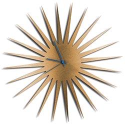 Adam Schwoeppe MCM Starburst Clock Bronze Blue Midcentury Modern Style Wall Clock