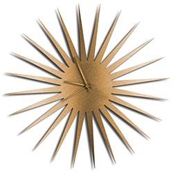 Adam Schwoeppe MCM Starburst Clock Bronze Bronze Midcentury Modern Style Wall Clock