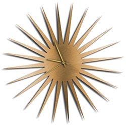 Adam Schwoeppe MCM Starburst Clock Bronze Gold Midcentury Modern Style Wall Clock