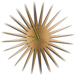 Adam Schwoeppe MCM Starburst Clock Bronze Green Midcentury Modern Style Wall Clock