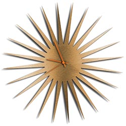 Adam Schwoeppe MCM Starburst Clock Bronze Orange Midcentury Modern Style Wall Clock