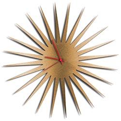 Adam Schwoeppe MCM Starburst Clock Bronze Red Midcentury Modern Style Wall Clock