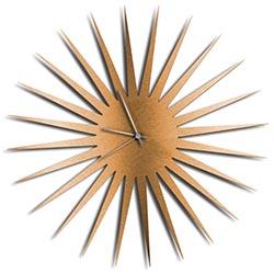Adam Schwoeppe MCM Starburst Clock Bronze Silver Midcentury Modern Style Wall Clock