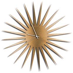 Adam Schwoeppe MCM Starburst Clock Bronze White Midcentury Modern Style Wall Clock
