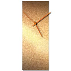 Adam Schwoeppe Bronzesmith Clock Large Orange Midcentury Modern Style Wall Clock