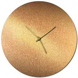 Adam Schwoeppe Bronzesmith Circle Clock Large Gold Midcentury Modern Style Wall Clock