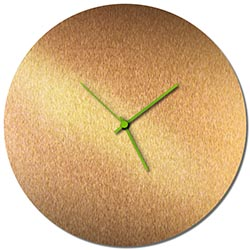 Adam Schwoeppe Bronzesmith Circle Clock Large Green Midcentury Modern Style Wall Clock
