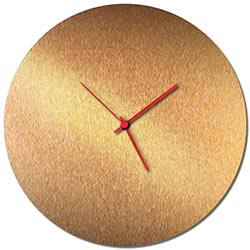Adam Schwoeppe Bronzesmith Circle Clock Large Red Midcentury Modern Style Wall Clock