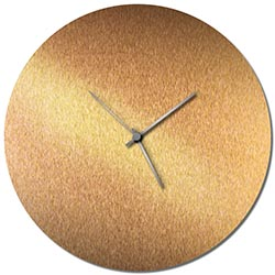 Adam Schwoeppe Bronzesmith Circle Clock Large Silver Midcentury Modern Style Wall Clock