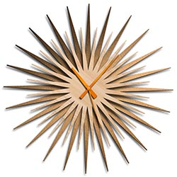 Adam Schwoeppe Atomic Era Clock Bronze Maple Orange Midcentury Modern Style Wall Clock