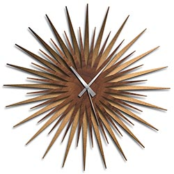Adam Schwoeppe Atomic Era Clock Bronze Walnut Grey Midcentury Modern Style Wall Clock