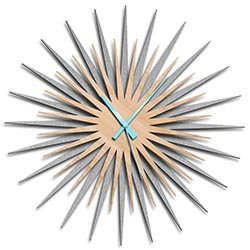 Adam Schwoeppe Atomic Era Clock Silver Maple Blue Midcentury Modern Style Wall Clock