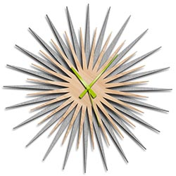 Adam Schwoeppe Atomic Era Clock Silver Maple Green Midcentury Modern Style Wall Clock