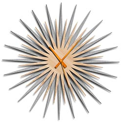 Adam Schwoeppe Atomic Era Clock Silver Maple Orange Midcentury Modern Style Wall Clock