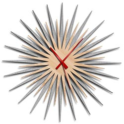 Adam Schwoeppe Atomic Era Clock Silver Maple Red Midcentury Modern Style Wall Clock