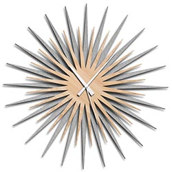 Adam Schwoeppe Atomic Era Clock Silver Maple White Midcentury Modern Style Wall Clock