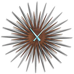 Adam Schwoeppe Atomic Era Clock Silver Walnut Blue Midcentury Modern Style Wall Clock