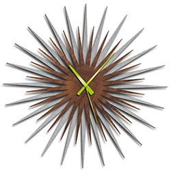 Adam Schwoeppe Atomic Era Clock Silver Walnut Green Midcentury Modern Style Wall Clock