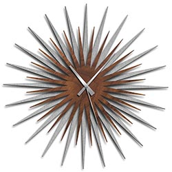Adam Schwoeppe Atomic Era Clock Silver Walnut Grey Midcentury Modern Style Wall Clock