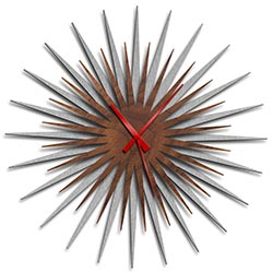 Adam Schwoeppe Atomic Era Clock Silver Walnut Red Midcentury Modern Style Wall Clock
