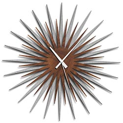 Adam Schwoeppe Atomic Era Clock Silver Walnut White Midcentury Modern Style Wall Clock