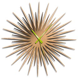 Adam Schwoeppe Atomic Era Clock Maple Bronze Green Midcentury Modern Style Wall Clock