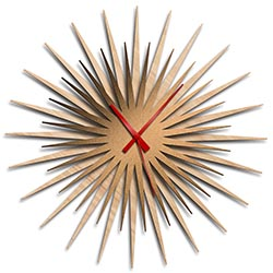 Adam Schwoeppe Atomic Era Clock Maple Bronze Red Midcentury Modern Style Wall Clock