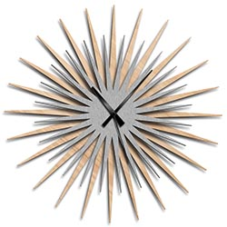 Adam Schwoeppe Atomic Era Clock Maple Silver Black Midcentury Modern Style Wall Clock