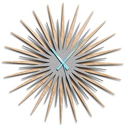 Adam Schwoeppe Atomic Era Clock Maple Silver Blue Midcentury Modern Style Wall Clock