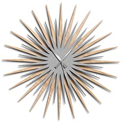 Adam Schwoeppe Atomic Era Clock Maple Silver Grey Midcentury Modern Style Wall Clock
