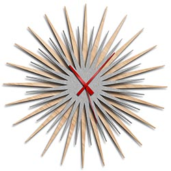 Adam Schwoeppe Atomic Era Clock Maple Silver Red Midcentury Modern Style Wall Clock