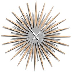 Adam Schwoeppe Atomic Era Clock Maple Silver White Midcentury Modern Style Wall Clock