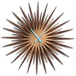 Adam Schwoeppe Atomic Era Clock Walnut Bronze Blue Midcentury Modern Style Wall Clock