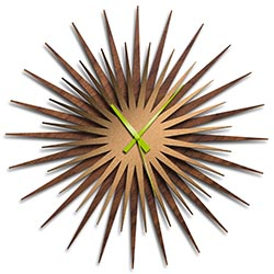 Adam Schwoeppe Atomic Era Clock Walnut Bronze Green Midcentury Modern Style Wall Clock