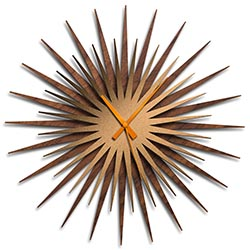 Adam Schwoeppe Atomic Era Clock Walnut Bronze Orange Midcentury Modern Style Wall Clock