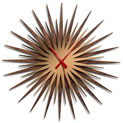 Adam Schwoeppe Atomic Era Clock Walnut Bronze Red Midcentury Modern Style Wall Clock