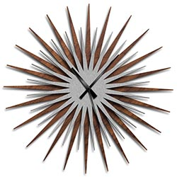 Adam Schwoeppe Atomic Era Clock Walnut Silver Black Midcentury Modern Style Wall Clock
