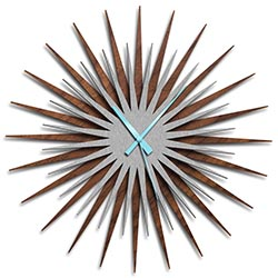 Adam Schwoeppe Atomic Era Clock Walnut Silver Blue Midcentury Modern Style Wall Clock