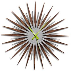 Adam Schwoeppe Atomic Era Clock Walnut Silver Green Midcentury Modern Style Wall Clock