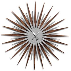 Adam Schwoeppe Atomic Era Clock Walnut Silver Grey Midcentury Modern Style Wall Clock