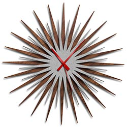 Adam Schwoeppe Atomic Era Clock Walnut Silver Red Midcentury Modern Style Wall Clock