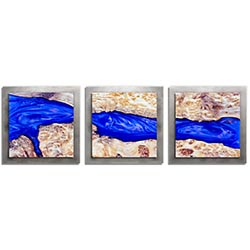 Adam Schwoeppe River Wood Essence Silver 38in x 12in Contemporary Style Wood Wall Art